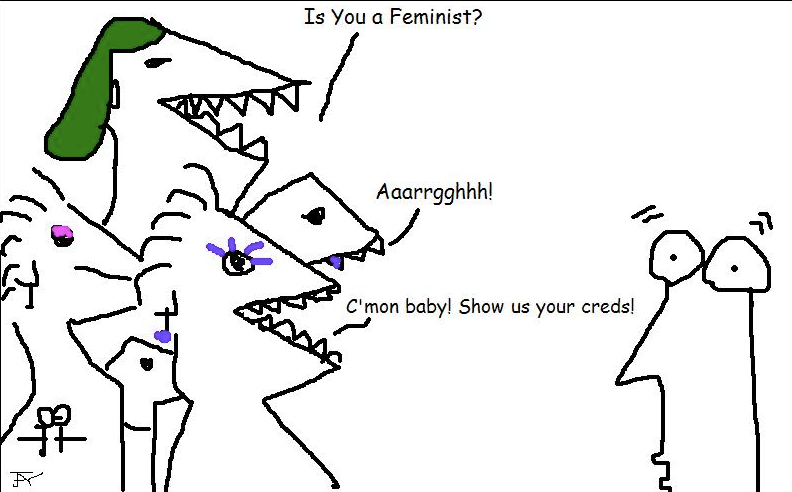 cartoon feminists hector an FtM