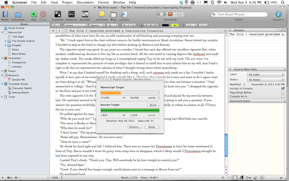 a screen shot of my novel in Scrivner